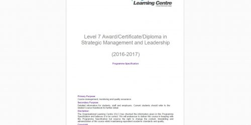 Level 7 Leadership and Management blended Learning